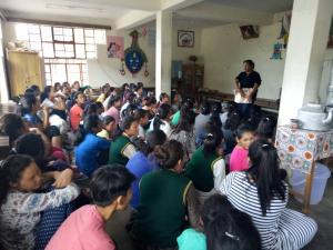 Kalsang explaining biology of menstruation, TCV Dharamsala